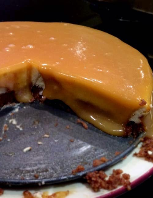New York Cheesecake Slathered with Salted Caramel Sauce
