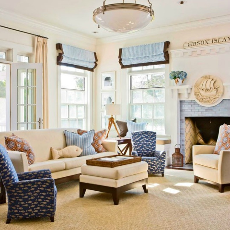 Inspirations on the horizon coastal rooms with nautical for Beach decor ideas living room