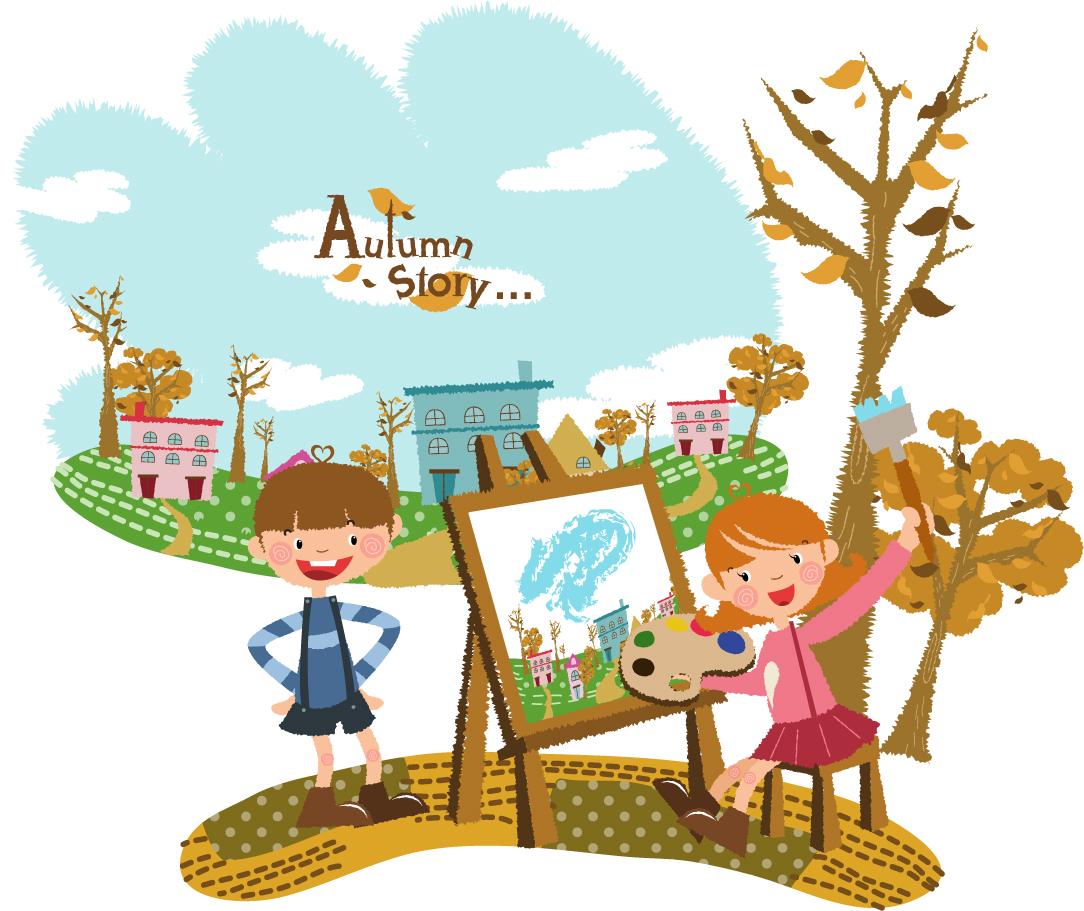 楽しく遊ぶ子供 Fun play children イラスト素材2