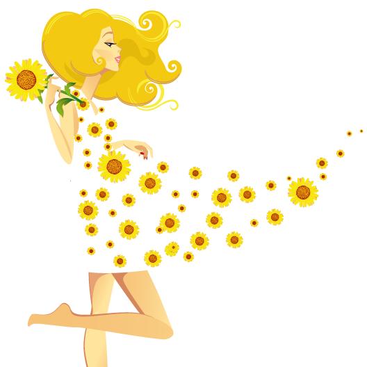 Mujer y brisa de primavera