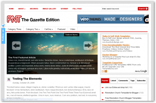 WooThemes - The Gazette Edition Converted for Blogger Free