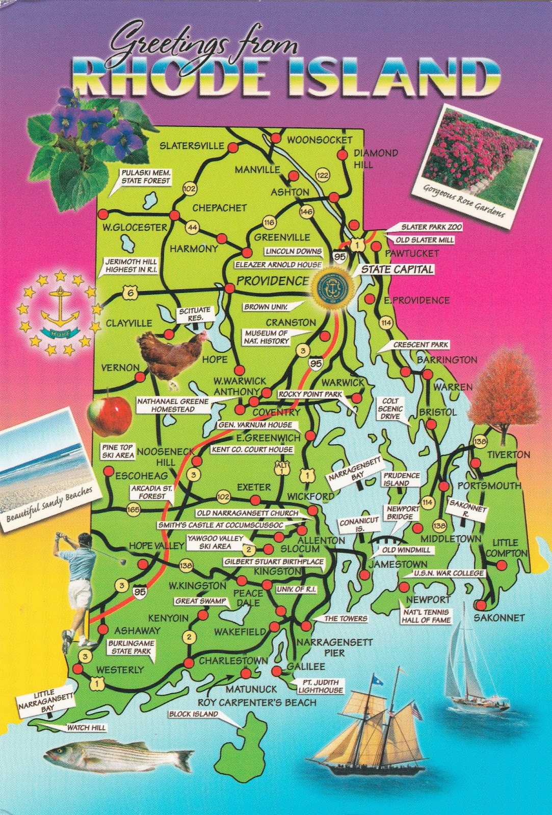 Love of Postcards Map of Rhode Island
