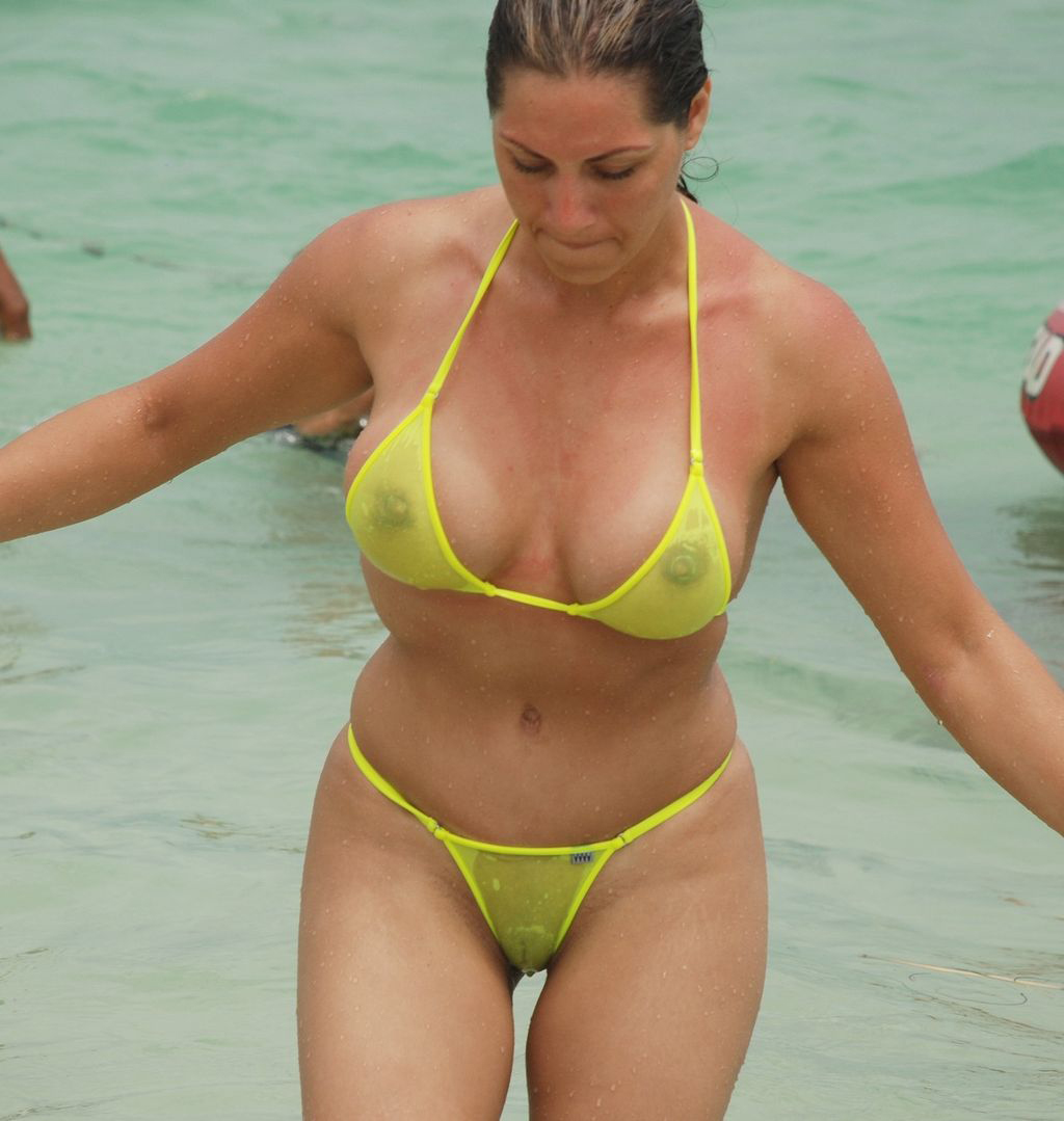 photos of women wearing sheer bikinis