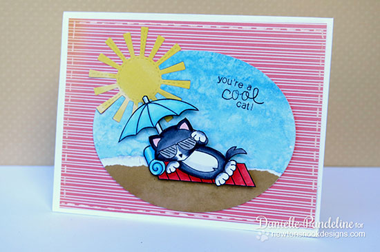 Fun kitty beach card by Danielle Pandeline using Newton's Summer Vacation Cat Stamp set by Newton's Nook Designs