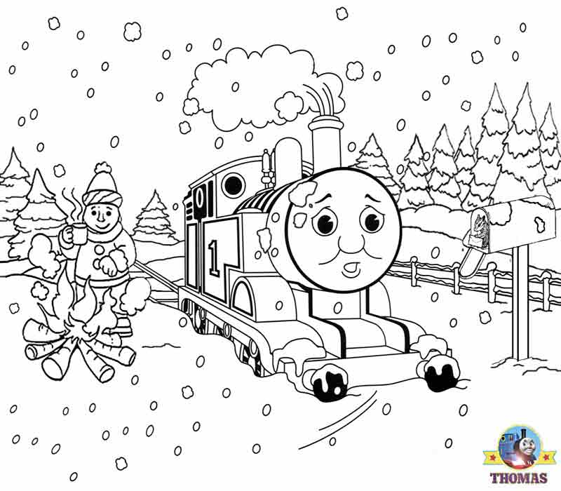 Free Coloring Pages To Print For Christmas. Free Christmas coloring pages for kids printable theme Xmas snow pictures  Thomas the tank engine FREE Coloring Pages For Kids Printable Snow