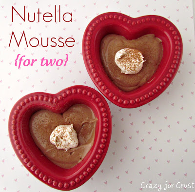 chocolate mousse in red heart ramekins
