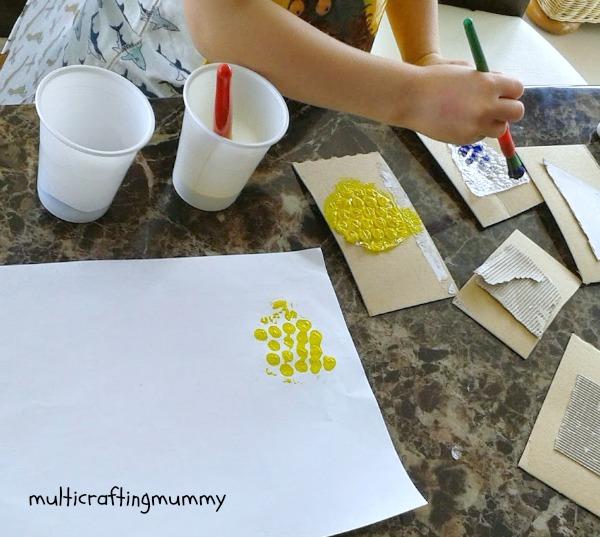 painting bubble wrap shape stamps