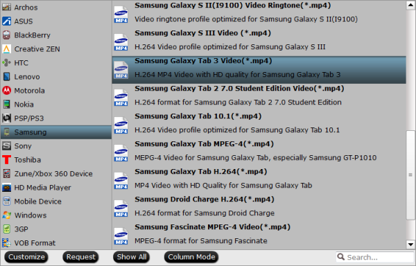 Galaxy Tab accepted video format