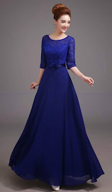 Royal Blue Half Sleeve Lace Top Chiffon Evening Maxi