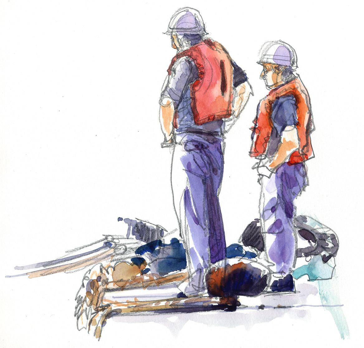 菖蒲田漁港の岸壁から港を見つめる作業員 この本を見ると、灯台を描いた絵... 絵で歌う、「三陸讃