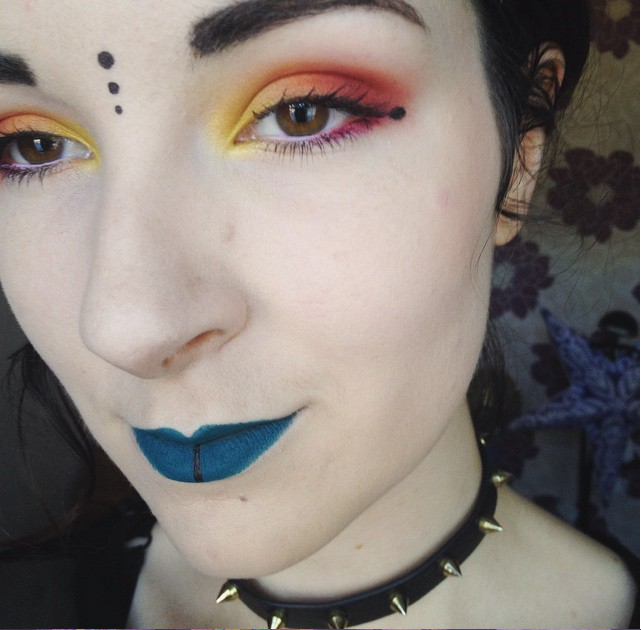 illamasqua apocalips lipstick matte turquoise face dots markings tribal fire make up yellow orange red eyeshadow eye shadow alternative alt look concrete minerals sugarpill love+