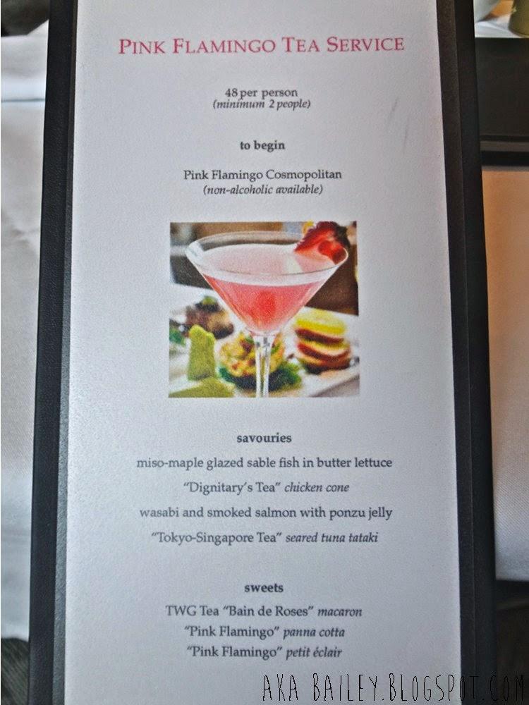 Pink Flamingo Tea Service at Urban Tea Merchant in Vancouver, menu