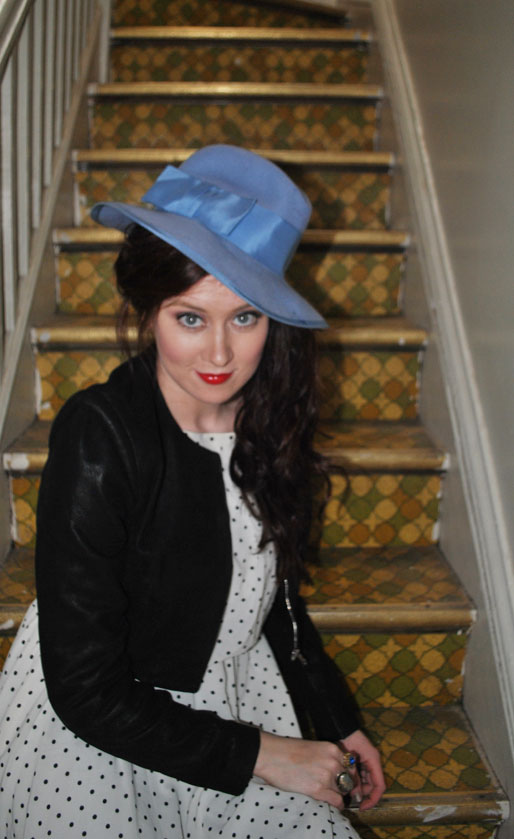 mollie booth parks, polka dot dress, blue hat, daily outfit, red lipstick