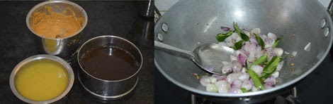 preparation for making onion sambar