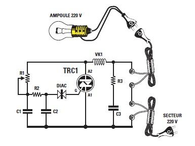 Schema et montage d 39 un variateur simple pour lampe 220 for Installer un variateur de lumiere