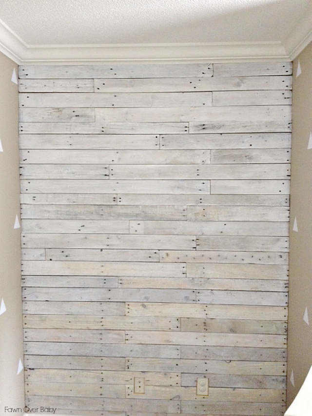 White Wood Wall : After paint dried, I used sand paper to give it a bit more of a ...