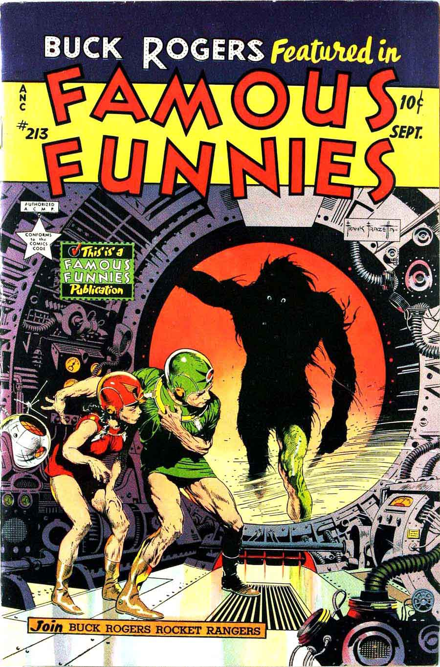 Famous Funnies 213 Frank Frazetta Cover Top 10 Pencil Ink