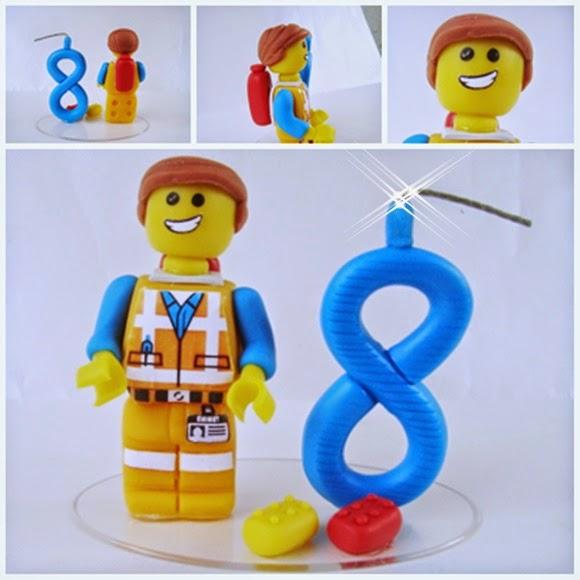 topo de bolo com vela Lego