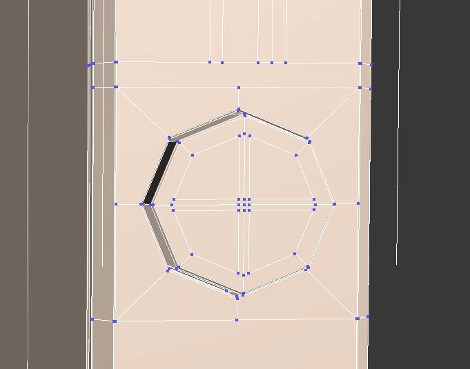 Aristas creadas del botón del iphone5 en 3ds max.