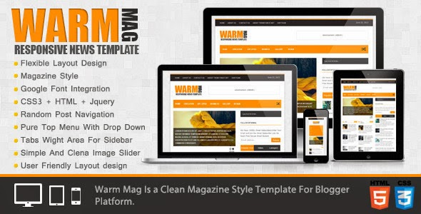 WarmMag - Premium Responsive Blogger Template Free Download