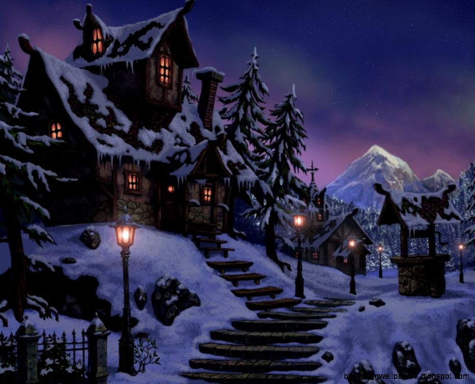 Winter Snow Night Houses