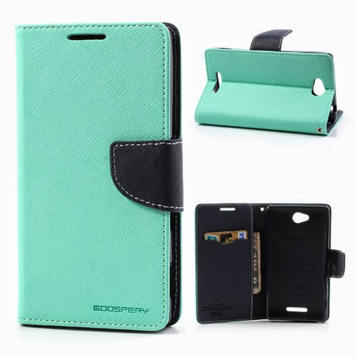 ... Fancy Diary Leather Case for Sony Xperia C C2305 S39h - Baby Green