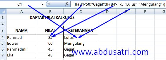 Logika IF majemuk dengan banyak kriteria di Excel