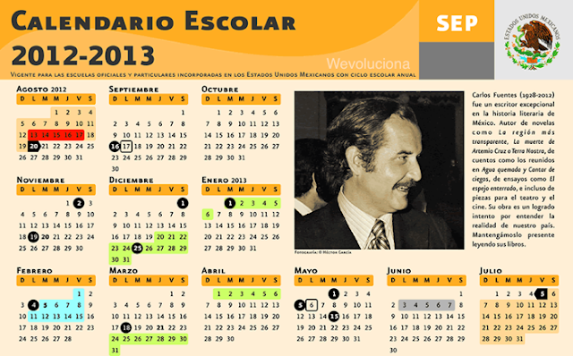 Descargar el calendario escolar oficial 2012 - 2013 de la SEP