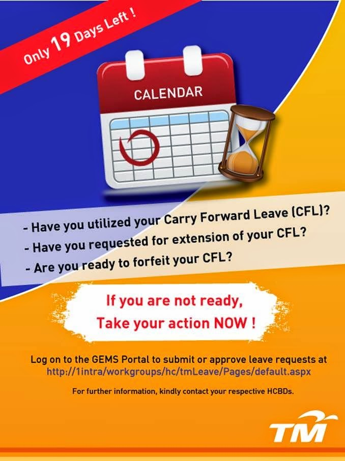 18 Days Left for 2014 Carry Forward Leave