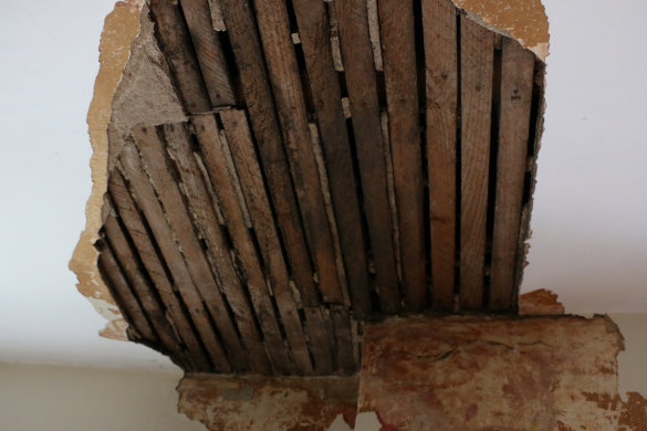 Before Amp After Exposing A Brick Chimney Under Plaster