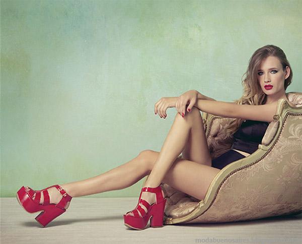 Lady Stork primavera verano 2015 sandalias altas on plataformas, moda 2015.