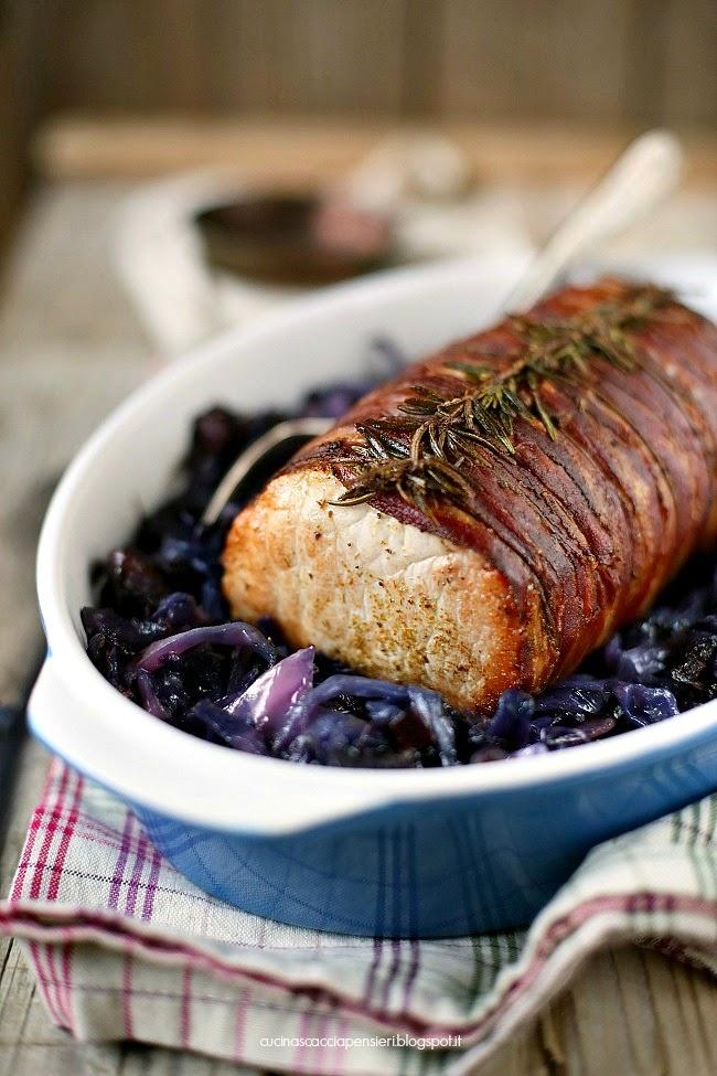 arrosto di lonza di maiale e cavolo viola