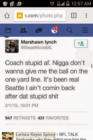 Coach stupid af. Nigga don't wanna give me the ball on the one yard line. It's been real Seattle I ain't comin back after dat stupid shit