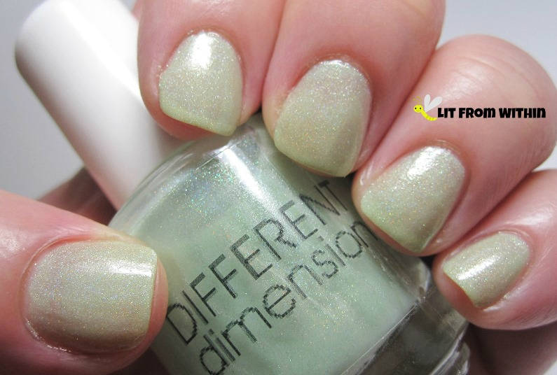Different Dimensions Good Evening Clarice, a sheer mint-green with a subtle holo