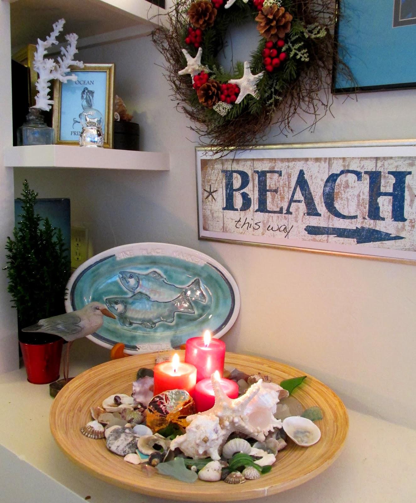 Coastal christmas decor - Caron S Holiday Bookshelf Coastal Holiday Ideas