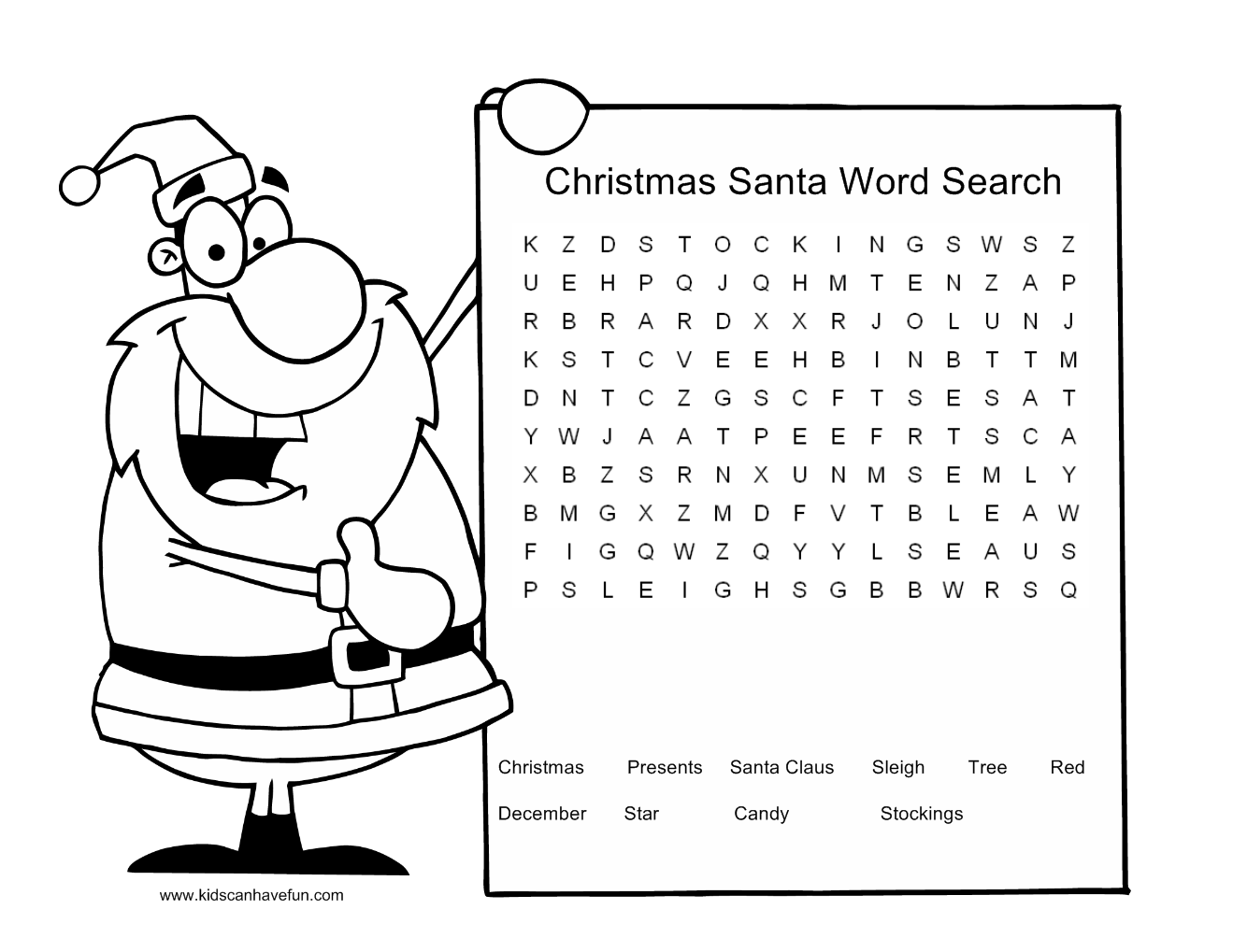 Christmas Crossword Puzzles Printables Christmas wordsearch for kids