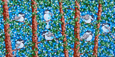 Chick A Dee Dee Dee Dee Dees, painting by aaron kloss artist, pointillism
