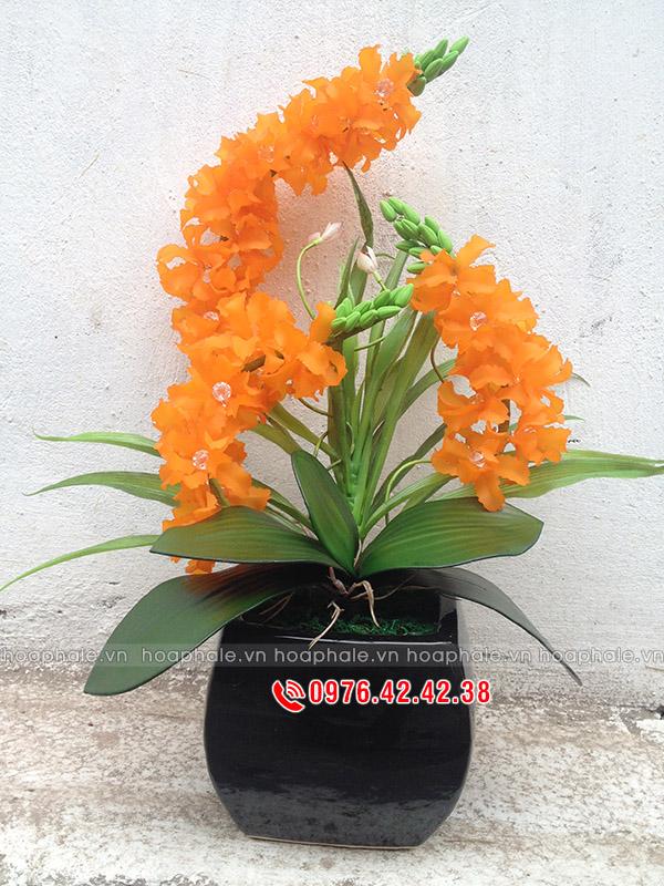 Hoa pha lê hoa lan màu cam
