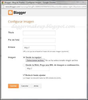 Ventana de configuración del gadget de Blogger