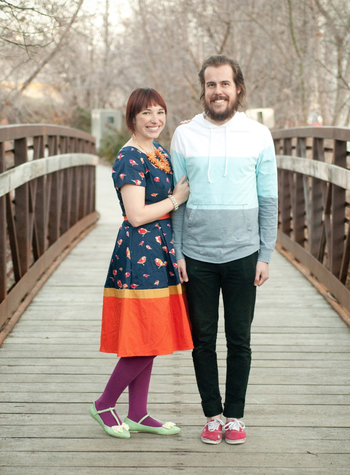 yellow bow, hue tights, tights, fashion blogger, mens wear, womens wear, style, fashion, orange, birds, navy, mustard yellow, target, target sweater, anthropologie, jcrew, pearls, bow shoes, bows, t strap shoes, eshakti, vans, red vans, levis