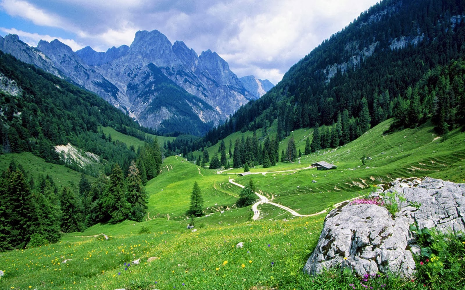 Mountains Green Nature Widescreen HD Desktop Backgrounds Images Wallpapers