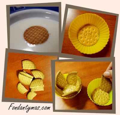 Fondant y más. Preparando la base del cupcake de galletas y chocolate.