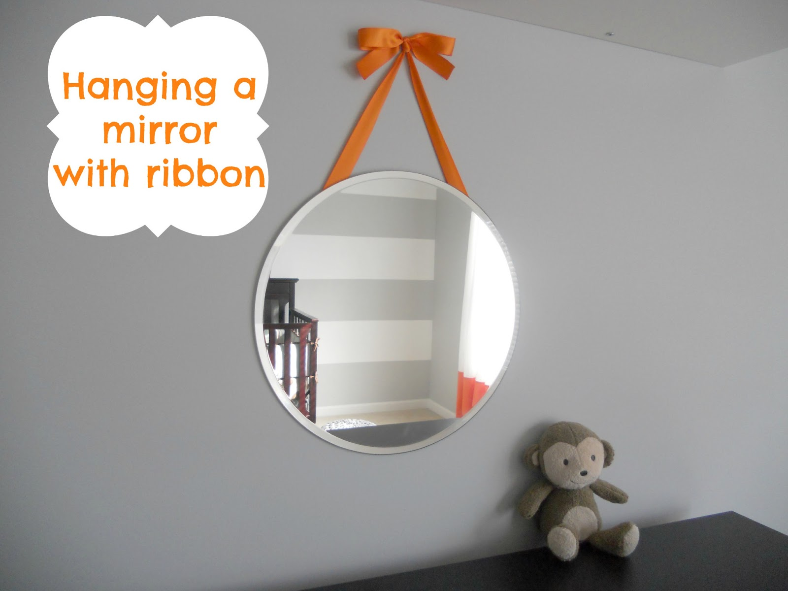 Decorating cents hanging a mirror with ribbon for Hanging mirror