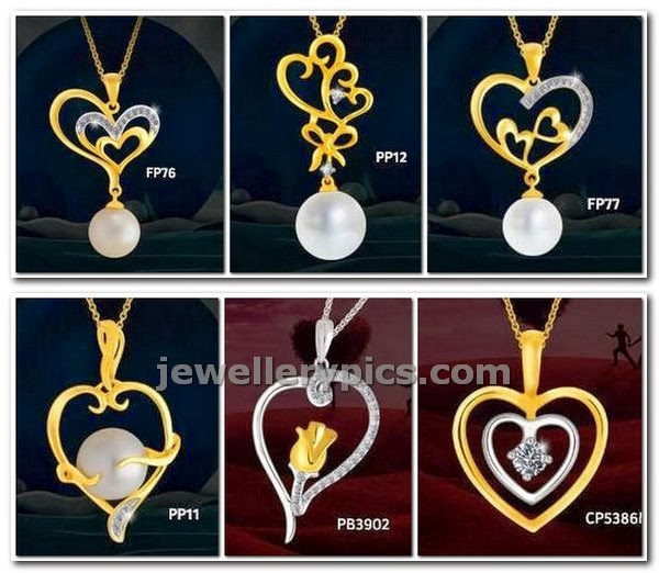 gold heart shaped pendents at joyalukkas light weight designs
