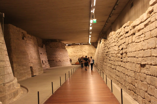 The original fortress still intact at the basement in Museum Lourve in Paris, France