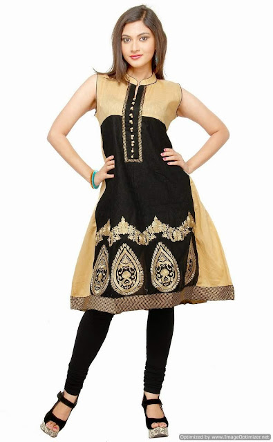 Marvelous Beige & Black Cotton Party Wear Kurti