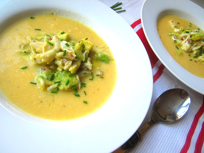 and crab soup chilled corn bisque with basil avocado and crab moroccan ...