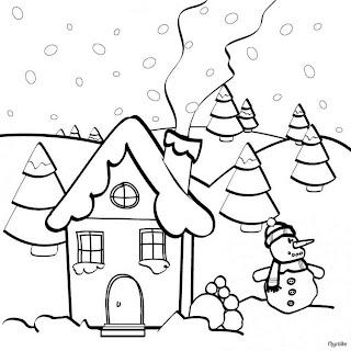 Casa de navidad para colorear