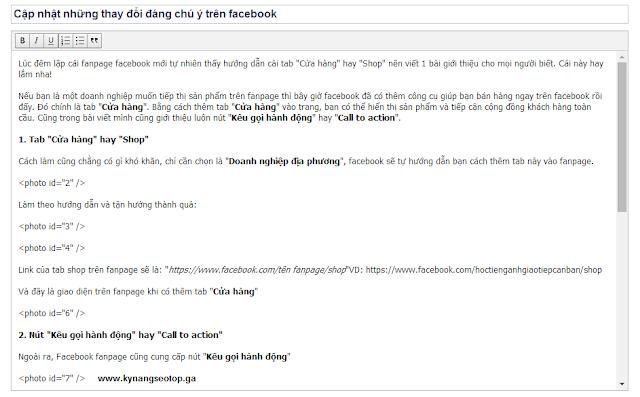 Tiêu đề và thanh công cụ facebook notes fanpage