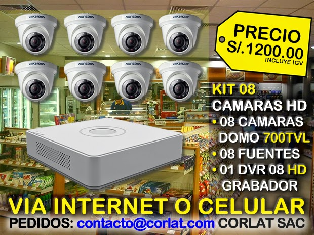 KIT DE 08 CAMARAS HIKVISION VIA INTERNET
